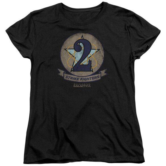 Bsg Strike Fighters Badge Short Sleeve Womens Tee T-Shirt