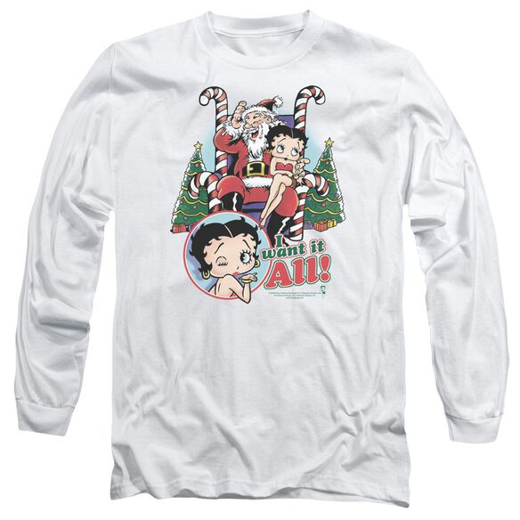 Betty Boop I Want It All Long Sleeve Adult T-Shirt
