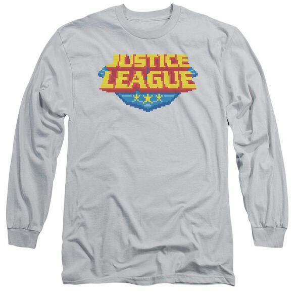 Jla 8 Bit Logo Long Sleeve Adult T-Shirt