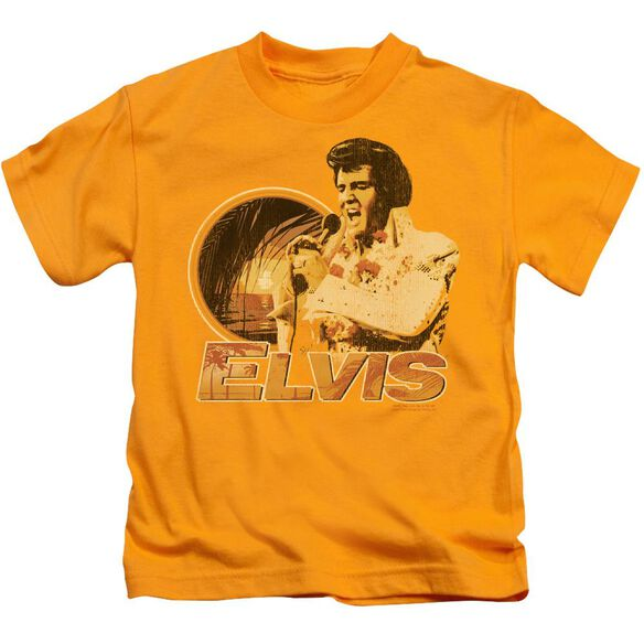 Elvis Singing Hawaii Style Short Sleeve Juvenile Gold T-Shirt