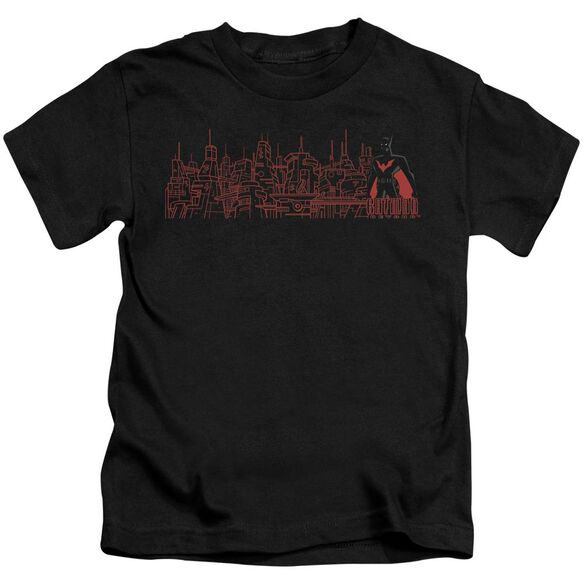 Batman Beyond Neo Gotham Skyline Short Sleeve Juvenile Black T-Shirt