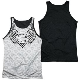 Superman Winged Shield Repeat Adult Poly Tank Top Black Back