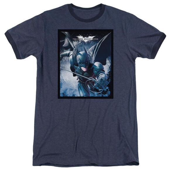 Dark Knight Rises Swing Into Action Adult Heather Ringer Navy