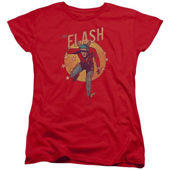 Dc Flash Circle & Stars Short Sleeve Womens Tee T-Shirt