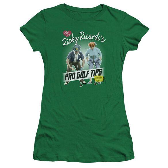 I Love Lucy Pro Golf Tips Premium Bella Junior Sheer Jersey Kelly
