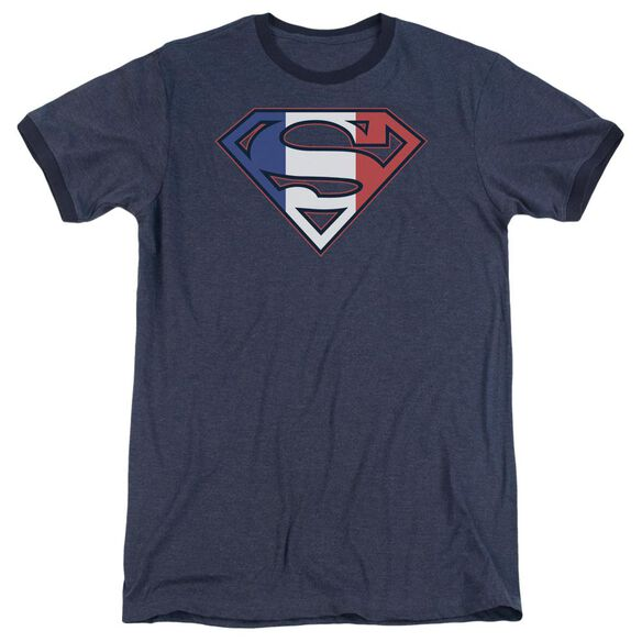 Superman French Shield - Adult Heather Ringer - Navy