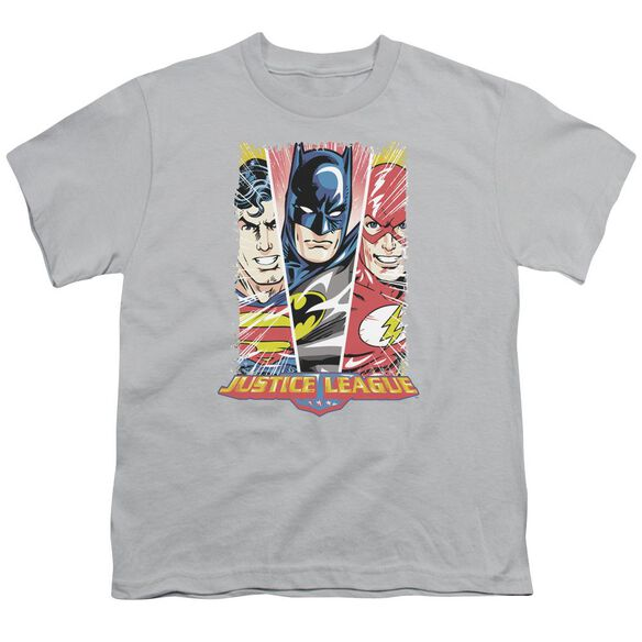 Jla Hero Triptych Short Sleeve Youth T-Shirt