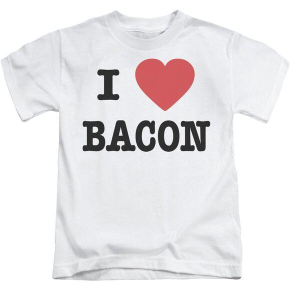 I Heart Bacon Short Sleeve Juvenile White T-Shirt
