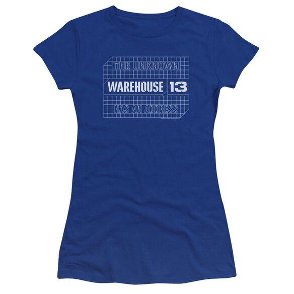 Warehouse 13 Blueprint Logo Premium Bella Junior Sheer Jersey Royal
