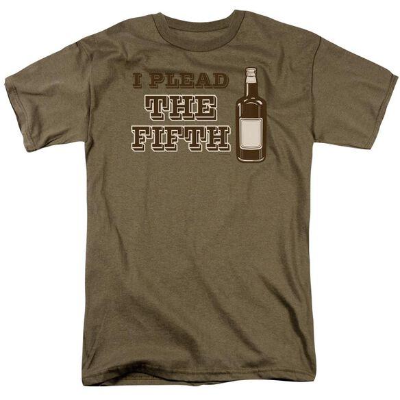 I Plead The Fifth Short Sleeve Adult Safari Green T-Shirt