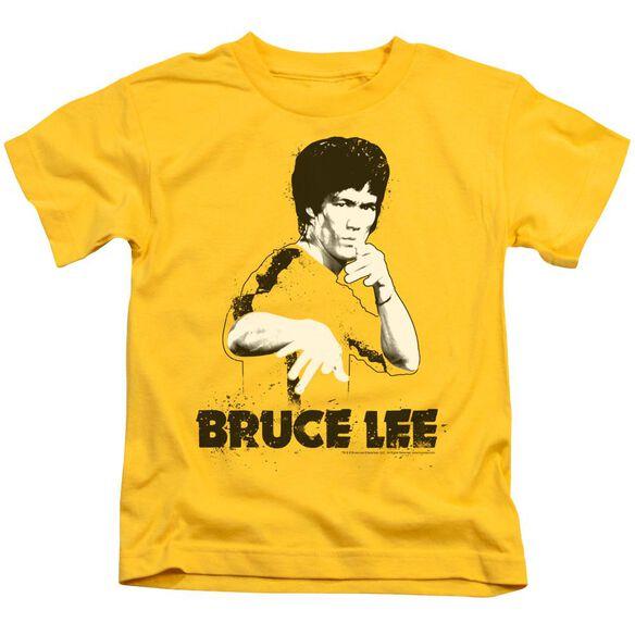 Bruce Lee Suit Splatter Short Sleeve Juvenile Yellow T-Shirt
