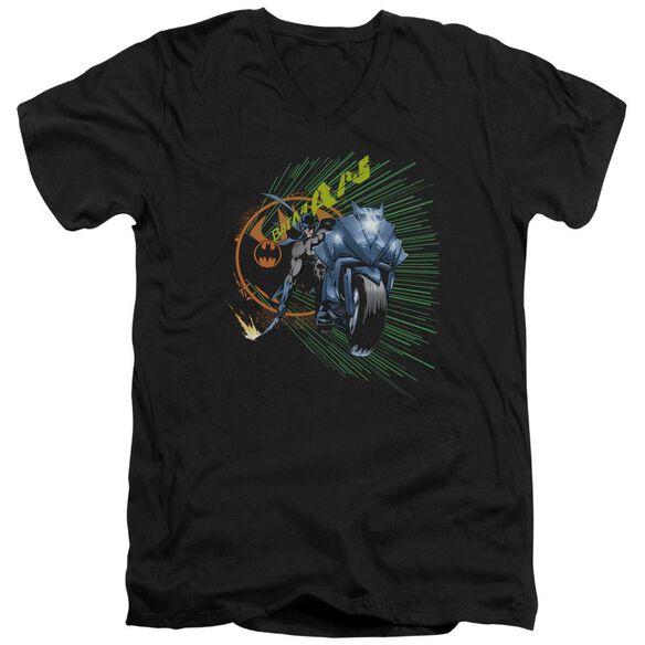 Batman Batcycle Short Sleeve Adult V Neck T-Shirt