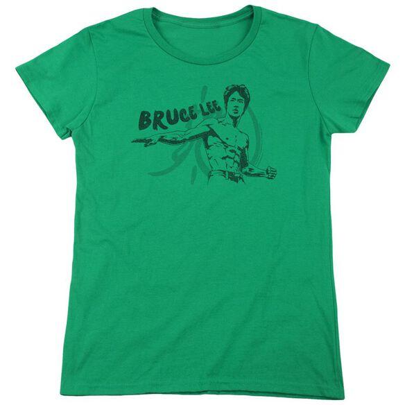 Bruce Lee Brush Lee Short Sleeve Womens Tee Kelly T-Shirt