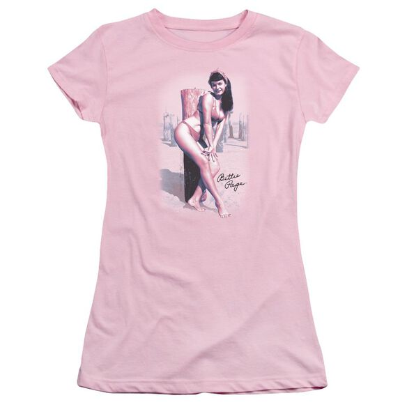 Bettie Page At The Beach Short Sleeve Junior Sheer T-Shirt