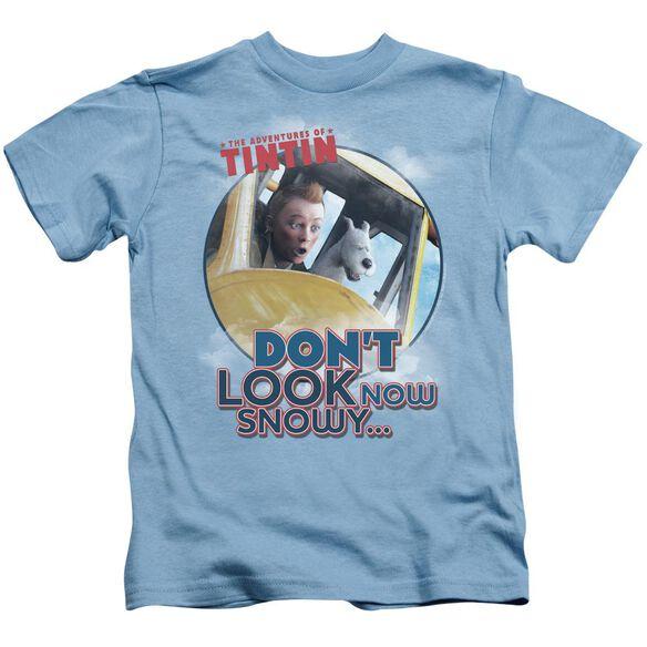 Tintin Dont Look Now Short Sleeve Juvenile Carolina Blue Md T-Shirt
