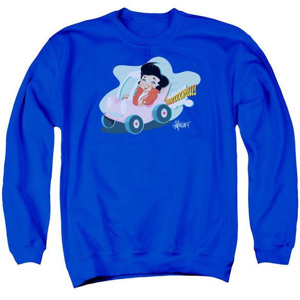 Elvis Speedway Adult Crewneck Sweatshirt Royal