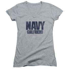 Navy Girlfriend Junior V Neck Athletic T-Shirt
