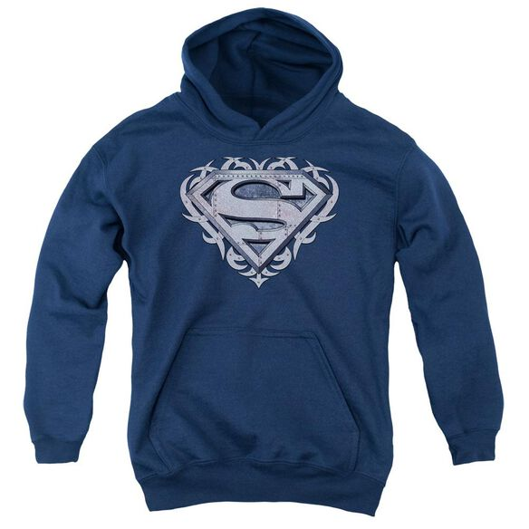 Superman Tribal Steel Shield Youth Pull Over Hoodie