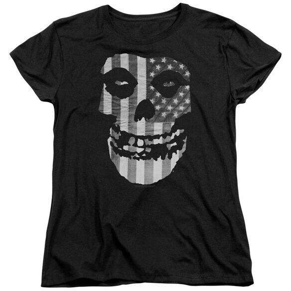 Misfits Fiend Flag Short Sleeve Womens Tee Black T-Shirt