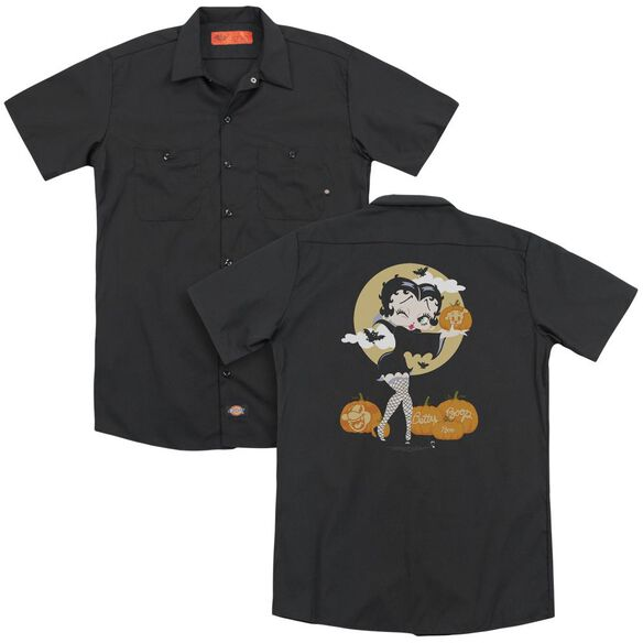 Betty Boop Vamp Pumkins(Back Print) Adult Work Shirt