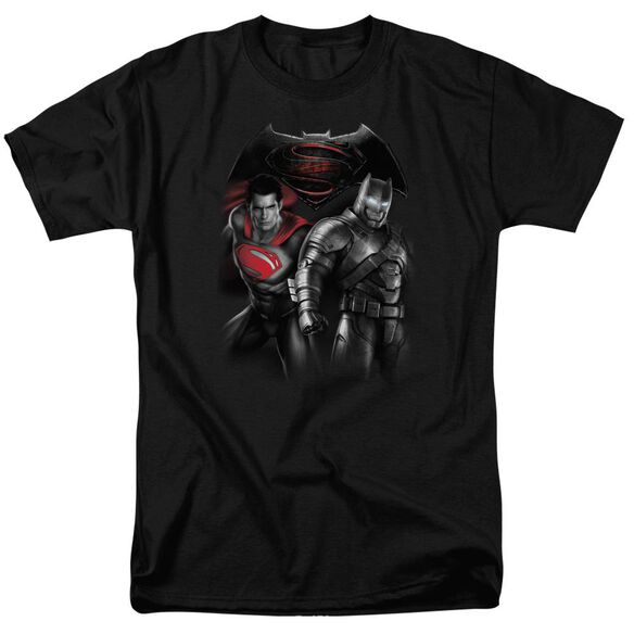 Batman V Superman Stand Off Short Sleeve Adult Black T-Shirt