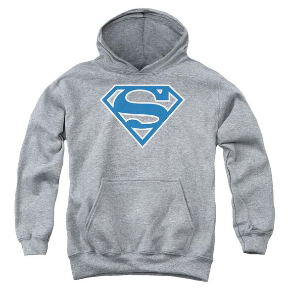 Superman Blue & White Shield Youth Pull Over Hoodie Athletic