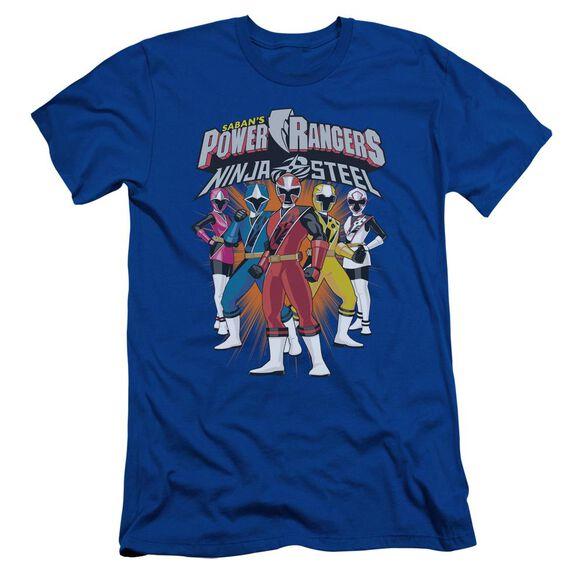 Power Rangers Team Lineup Short Sleeve Adult Royal T-Shirt