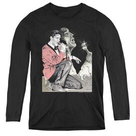 ELVIS PRESLEY ROCK N ROLL SMOKE - WOMENS LONG SLEEVE TEE - BLACK