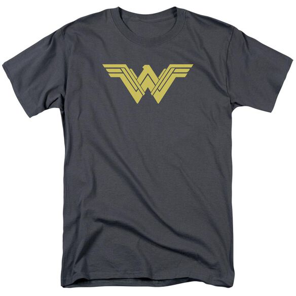 Batman V Superman Clean Line Logo Short Sleeve Adult Charcoal T-Shirt