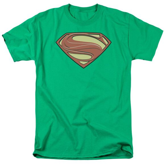 Man Of Steel New Solid Shield Short Sleeve Adult Kelly Green T-Shirt