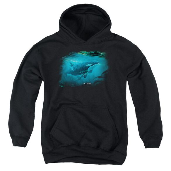 Wildlife Pursuit Thru The Kelp Orca Youth Pull Over Hoodie