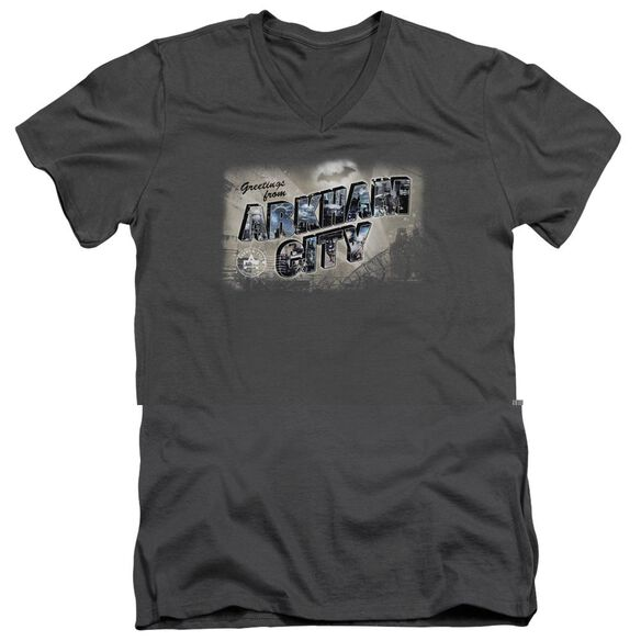 ARKHAM CITY GREETINGS FROM ARKHAM - S/S ADULT V-NECK - CHARCOAL T-Shirt
