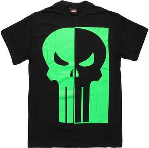 Punisher Half Green Glow Logo T-Shirt