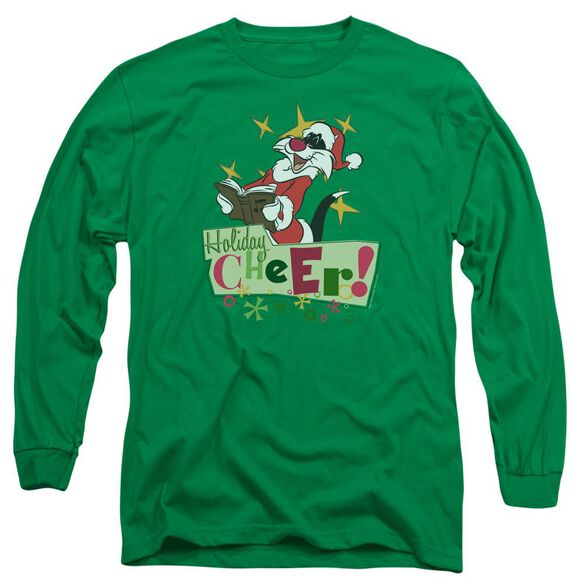 Looney Tunes Cheer Sylvester Long Sleeve Adult Kelly T-Shirt