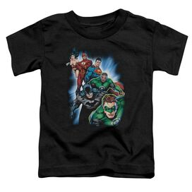 Jla Heroes Unite Short Sleeve Toddler Tee Black Lg T-Shirt