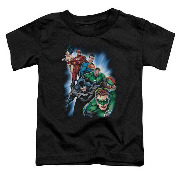 Jla Heroes Unite Short Sleeve Toddler Tee Black Lg T-Shirt