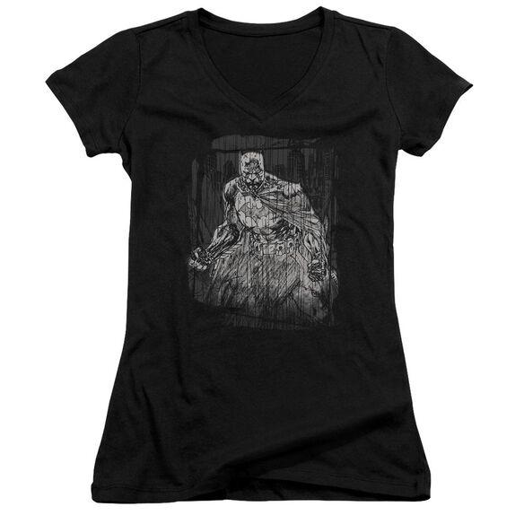 Batman Pencilled Rain Junior V Neck T-Shirt