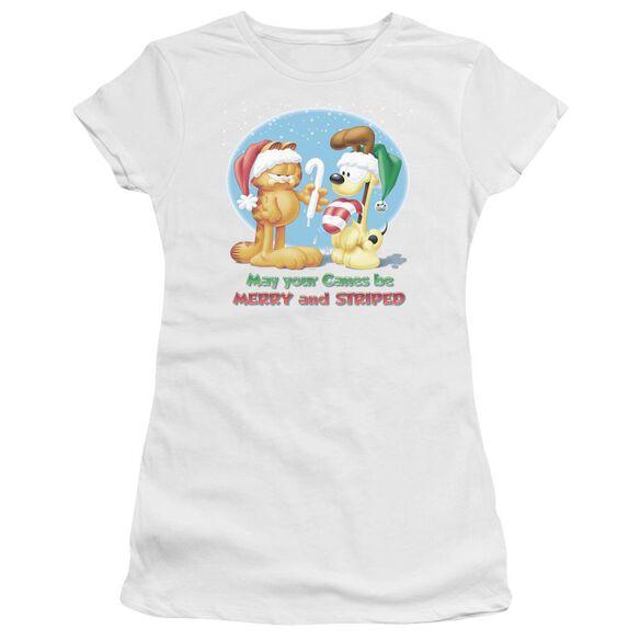GARFIELD MERRY AND STRIPED - S/S JUNIOR SHEER - WHITE T-Shirt