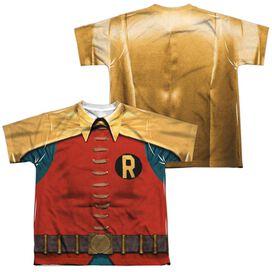 Batman Classic Tv Robin Costume (Front Back Print) Short Sleeve Youth Poly Crew T-Shirt