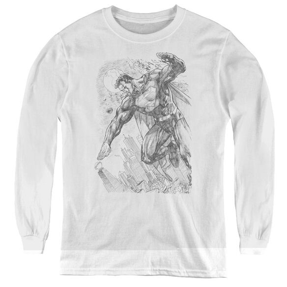 Superman Pencil City To Space - Youth Long Sleeve Tee - White