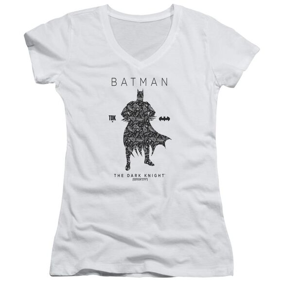 Batman Paislety Silhouette Junior V Neck T-Shirt