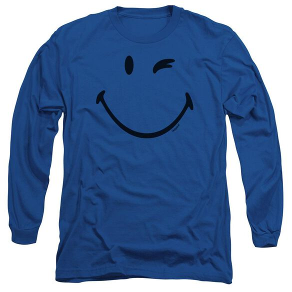 Smiley World Big Wink Long Sleeve Adult Royal T-Shirt