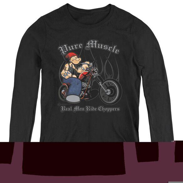 Popeye Pure Muscle - Womens Long Sleeve Tee - Black