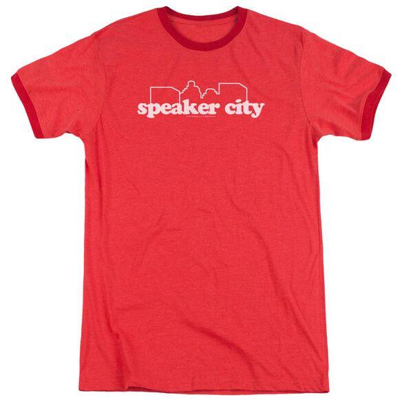 Old School Speaker City Logo Adult Heather Ringer Red