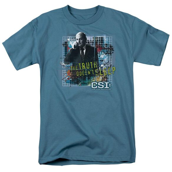 Csi Truth Doesn't Sleep Short Sleeve Adult Slate T-Shirt