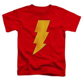 Dc Shazam Logo Distressed Short Sleeve Toddler Tee Red Md T-Shirt