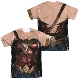 Justice League Movie Wonder Woman Uniform (Front Back Print) Short Sleeve Adult Poly Crew T-Shirt