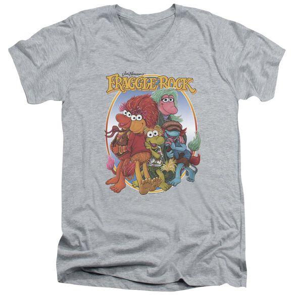 Fraggle Rock Group Hug Short Sleeve Adult V Neck Athletic T-Shirt