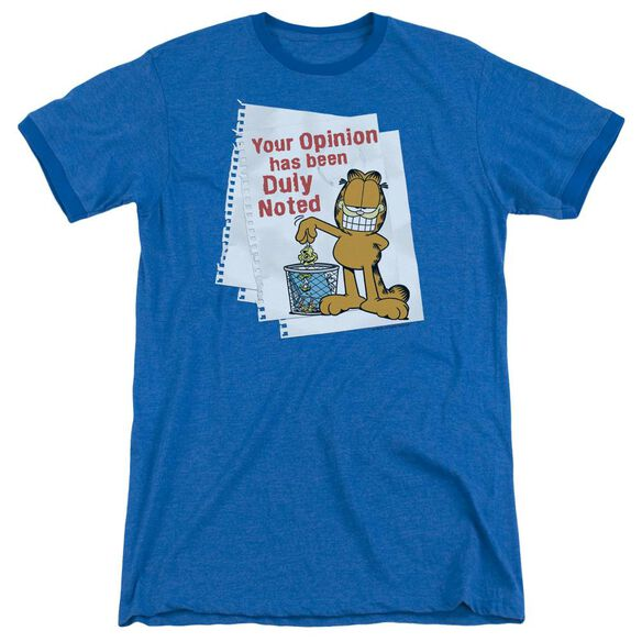 Garfield Duly Noted - Adult Heather Ringer - Royal Blue