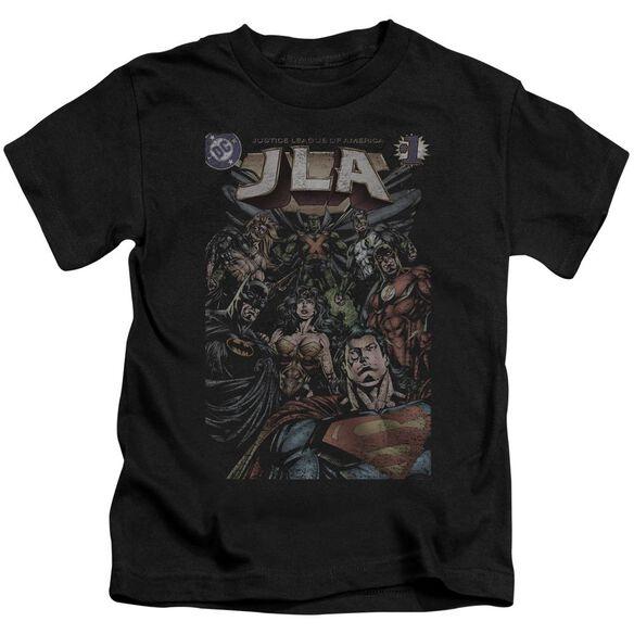 Jla #1 Cover Short Sleeve Juvenile Black T-Shirt